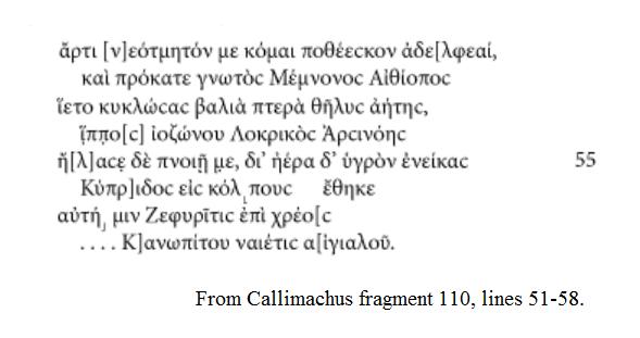Callimachus fr110 51-58 Acosta-Hughes 2010 p63-64
