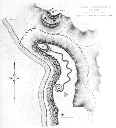 Map of Serpent Mound by Ephraim Squire and Edwin Davis, from Ancient Monuments of the Mississippi Valley, 1848