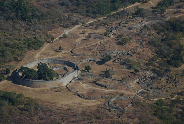 Aerial view of part of the Great Zimbabwe complex. Photograph by Janice Bell