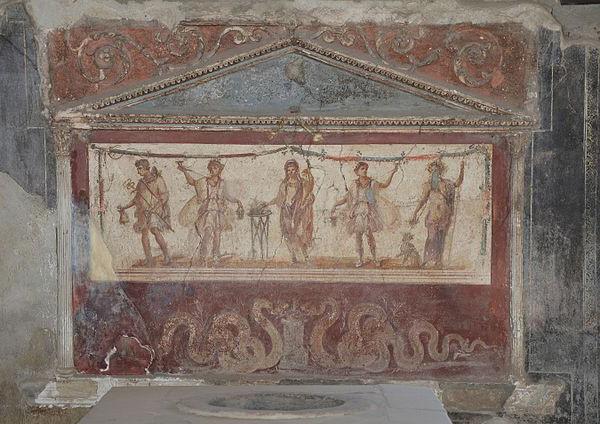 Lararium, Pompeii, photograph by Carole Raddato via Wikimedia