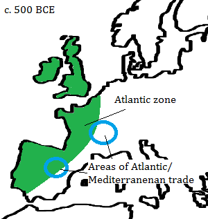 The areas of increasing contact between the Atlantic and Mediterranean zones