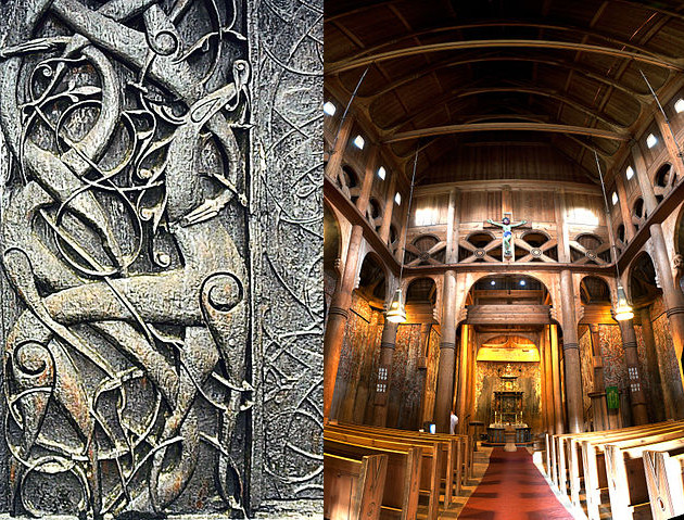 Detail of portal carving at Urnes stave church, photograph by Nina Aldrin Thune via Wikimedia (Urnes, Norway; 12th c.; wood carving); Interior of Heddal stave church, photograph by Christian Barth via Wikimedia (Heddal, Norway; 13th c.)