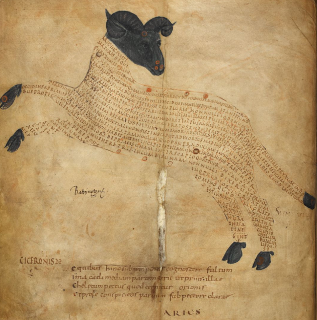 The constellation Aries, from Harley MS 647 via The British Library (England, currently British Museum; 820-1100 CE; ink on vellum)