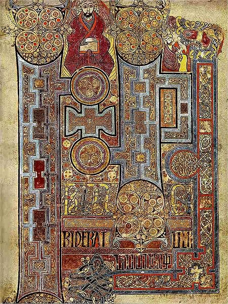 Book of Kells, folio 292r via Wikimedia (Ireland; c. 800; ink on vellum)