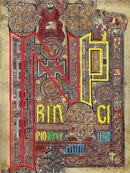 Book of Kells via Wikimedia, text highlighted by Erik Jensen