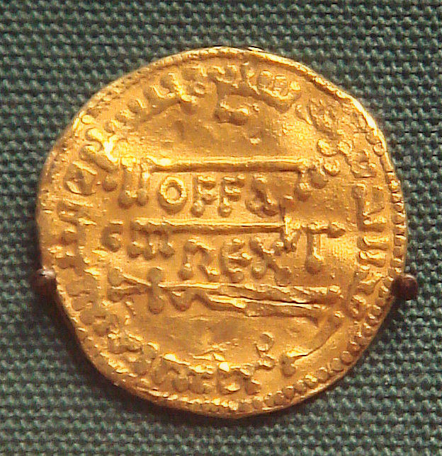 Coin of Offa, photograph by PHGCOM via Wikimedia (currently British Museum; 773-4 CE; gold)