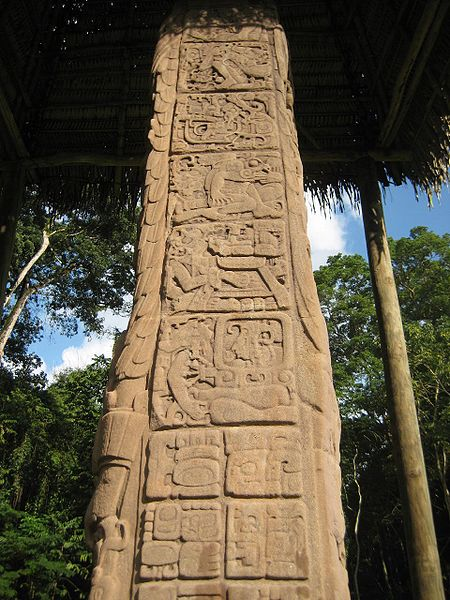 Mayan script on the side of Stela D, photograph by Stuardo Herrera via Wikimedia (Quiriguá, Guatemala; 766 CE; carved stone)