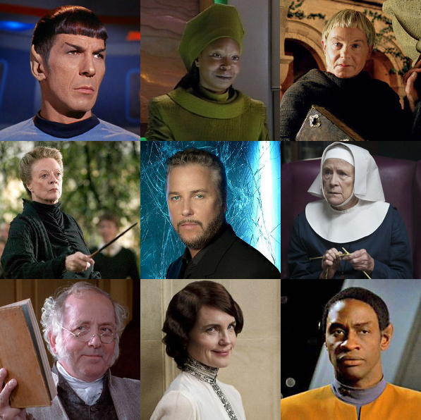 Spock (Star Trek), Guinan (Star Trek: The Next Generation), Brother Cadfael (Cadfael novels and Cadfael tv series), Minerva MacGonagall (Harry Potter novels and films), Gil Grissom (CSI), Sister Monica Joan (Call the Midwife), Mr. Bennet (Pride and Prejudice), Cora Crawley (Downton Abbey), Tuvok (Star Trek: Voyager)