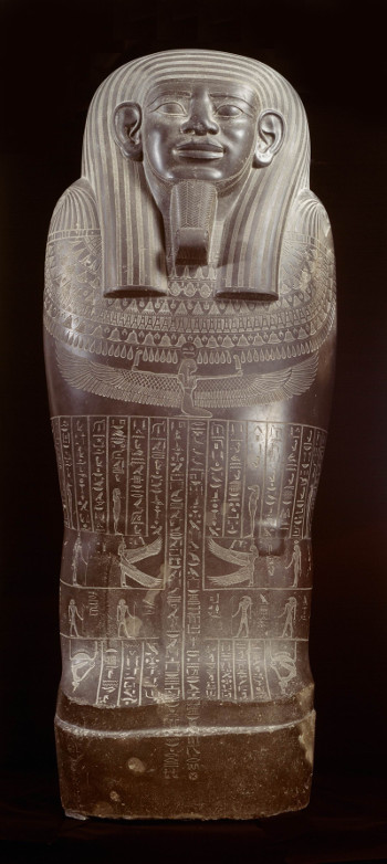 Sarcophagus of Wahibre-em-akhet, via Rijksmuseum van Oudheden (Egypt, possibly Giza, currently Rijksmuseum van Oudheden; basalt; 664-525 BCE)