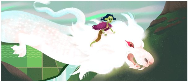 Google Doodle Falkor from Neverending Story