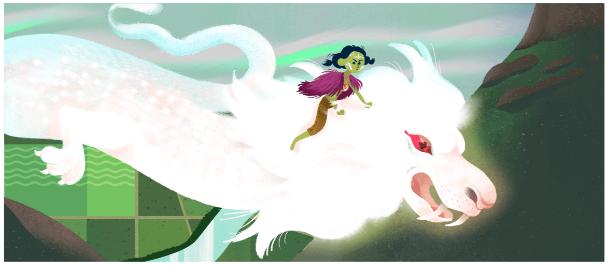 Google Doodle Falkor from Neverending Story