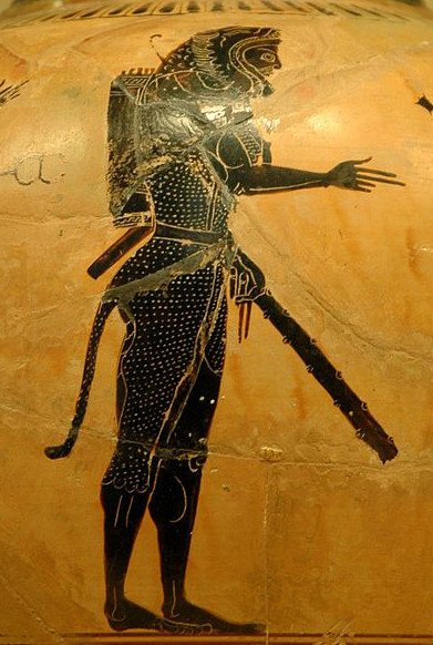 Heracles on a black-figure pot, photograph by Jastrow via Wikimedia (Currently Louvre; c. 520 BCE; pottery)