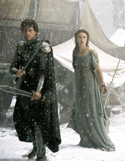 """Keira Knightley performing """"how not to dress in the snow,"""" from King Arthur via IMDb"""