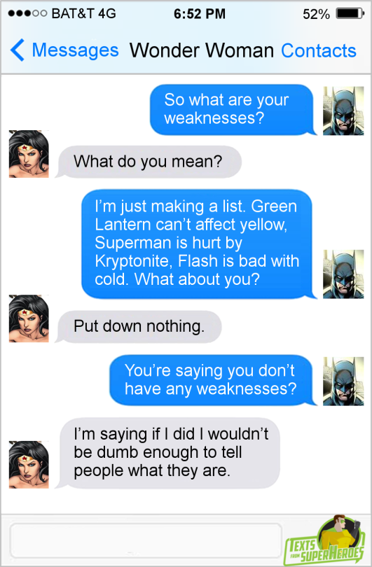 Texts from Wonder Woman Weaknesses