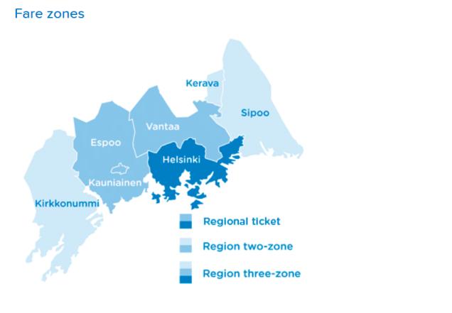 Fare Zones within Greater Helsinki Region Sm