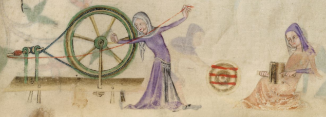 British Library Add MS 42130 f193r Spinning Carding