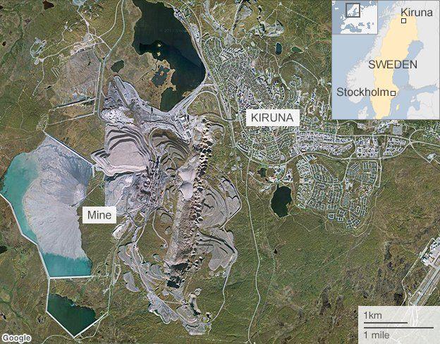 BBC Kiruna Mine and Town Map