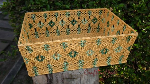 Etsy CraftingMode Big Macrame Basket Birch Green