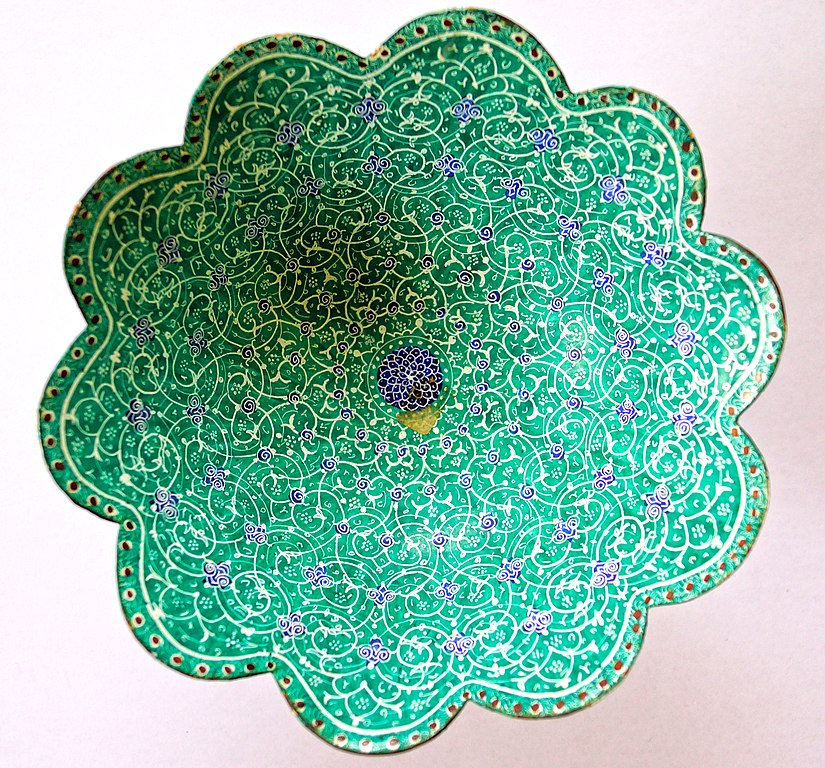 Bowl enameled in green and purple with intricate metalwork