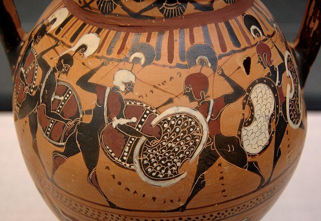 Greek vase showing hoplites fighting